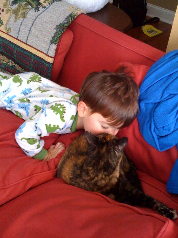 Theo and kitty cat jan 2010